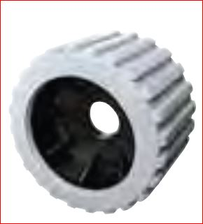 Grey Ribbed Wobble Roller 20mm bore|Diameter = 100mm Width = 75mm